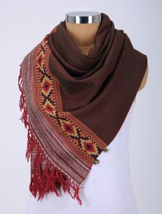 Brown-Red Wool Stole