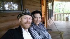 Us at our cabin...rainy day in!