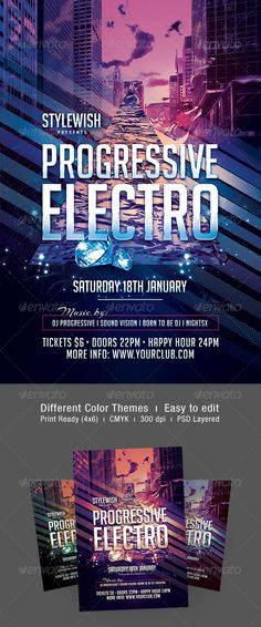 Electro FlyerPoster  Flyers    Electro Music And Graphics