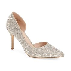 Lauren Lorraine 'Raquel' Pump (6,540 INR) ❤ liked on Polyvore featuring shoes, pumps, nude sparkle, nude pumps, sparkle shoes, d'orsay shoes, dorsay pump and nude shoes