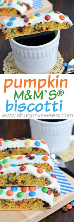 Looking for a fall snack idea? This Pumpkin M&M'S® Biscotti has the perfect crunch and tastes amazing dunked in your coffee or hot cocoa!