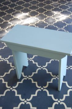 Large Moorish Trellis Stencil with Chalk Paint® decorative paint by Annie Sloan on cement floor by DiLucca Design! | Royal Design Studio