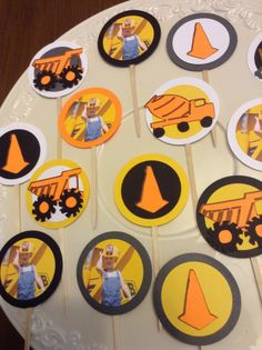 Construction cupcake topper bulldozer traffic by ThePinkPapermill, $12.00