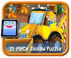 Cartoon Backhoe - 25 Piece Online jigsaw puzzle for kids