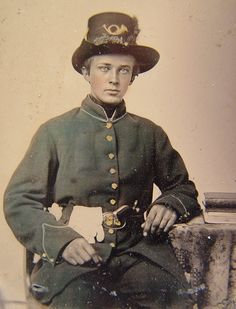Beautiful reverse tinted reverse ambrotype of a young man serving in the Iron Brigade during the Civil War.