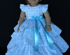 18 inch doll dress. Fits American Girl Dolls. Retro ruffled
