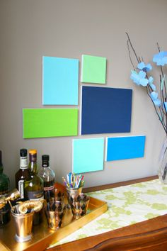 Simple wall art - requires no artistic skills and the options for color palette and size of the grouping are endless!