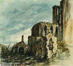 Hitler's Watercolor of Ruins (1919)-Still, he remained in the city until May of 1913. To supplement his meager income during this time, Hitler occasionally made small paintings and postcards (mostly of the Viennese architecture) and sold them on the street. This watercolor (executed after he had moved to Munich) shows that Hitler's art was firmly rooted in the nineteenth-century.
