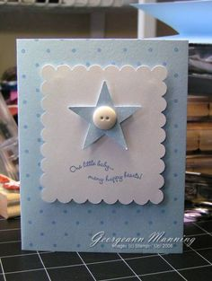 Baby Boy Cards Ideas Stamps Ideas For 2019 Tarjetas Diy, Button Cards, New Baby Cards, Baby Shower Cards, Baby Shower Themes, Greeting Cards Handmade, Baby Boy Cards Handmade, Cool Cards, Kids Cards