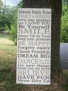 Family Rules subway sign