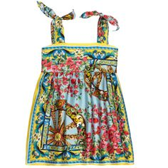 Multicoloured printed dress made of pure silk fabric. Viscose lining. Tied shoulder straps. Popper fastening at the back. - $ 492,80
