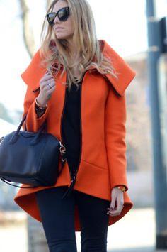 Orange coat, HUGE Collar.