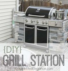 DIY Grill Station with step-by-step instructions. Add some side panels to your existing grill to give it a custom built in look...easy!! :)