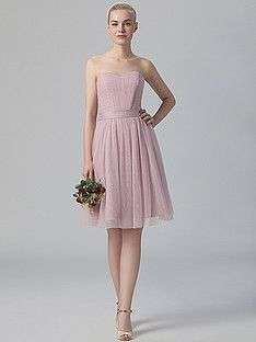 Pleated Sweetheart Tulle Dress; Color: English Rose; Sizes Available: 2-26W, Custom Size; Fabric: Chiffon
