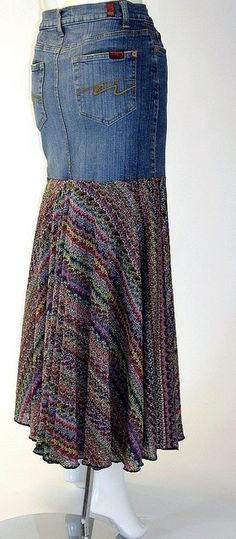 Long Denim Skirt, Yoked, Lined, Size 8-10 by brendaabdullah, via Flickr