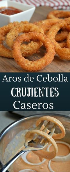 Estos aros de cebolla son extra crujientes y te dejaran con ganas de comer mas! Mexican Food Recipes, Vegan Recipes, Cooking Recipes, Vegan Meals, Diet Recipes, Comida Diy, Salty Foods, Kitchen Recipes, I Foods