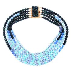 Coppola e Toppo Multi Strand Blue Glass Necklace | From a unique collection of vintage multi-strand necklaces at http://www.1stdibs.com/jewelry/necklaces/multi-strand-necklaces/