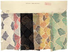 Sonia Delaunay, Set of five fabric samples, Design 945, Produced by Metz & Co, France, 1929–30, Printed silk Private collection
