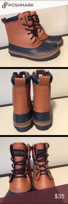 Kenneth Cole 6 women's lined warm rain boots Kenneth Cole 6 women's lined brown & navy rain boots  NWOB Kenneth Cole Reaction Shoes Winter & Rain Boots