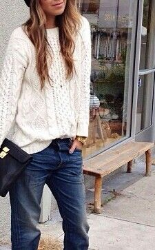 Cream sweater with jeans