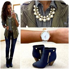 Green Vest Outfit Pictures green vest outfit just trendy girls Green Vest Outfit. Here is Green Vest Outfit Pictures for you. Green Vest Outfit army green vest a cup full of sass. Green Vest Outfit outfit with out. Navy Blue Boots, Navy Ankle Boots, How To Wear Ankle Boots, Casual Winter Outfits, Stylish Outfits, Fall Outfits, Casual Wear, Outfit Winter, Booties Outfit