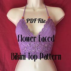 Flower Laced Crochet Bikini Top Pattern  PDF File by ZaysCrochet
