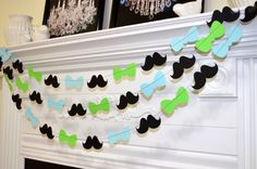 Mustache bow tie little man party, baby boy party decor, baby shower garland, it's ma boy party decorations, lime green baby blue garland