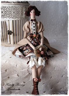 Tilda doll Textile doll Tilda doll with handbag OOAK doll Home decor Fabric doll Ready to ship!  This cute little doll is my interpretation of a Tilda doll pattern. The doll will be a wonderful present and a beautiful addition to home. The doll is wearing a polka dot stylish