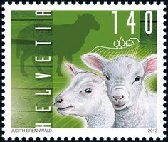 Swiss special stamp: Farmyard animals – Sheep www.postshop.ch/philatelie