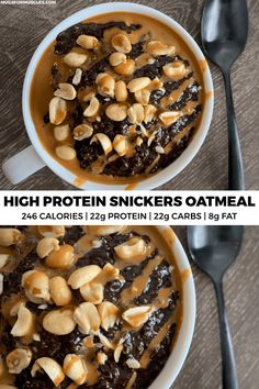 Snickers oatmeal recipe packs 22 grams of protein into a bowl of creamy oats with chocolate, peanuts, and caramel syrup.This copycat Snickers oatmeal recipe packs 22 grams of protein into a bowl of creamy oats with chocolate, peanuts, and caramel syrup. Healthy Protein Snacks, Protein Foods, Healthy Breakfast Recipes, Healthy Recipes, High Protein Desserts, High Protein Meals, 100 Calorie Desserts, Whey Protein Shakes, Protein Ice Cream
