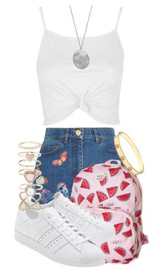 """""""Mismatched accessorising"""" by tigerlily789 ❤ liked on Polyvore featuring Topshop, Valentino, Roxy, adidas Originals, Karen Kane, Accessorize and Cartier"""