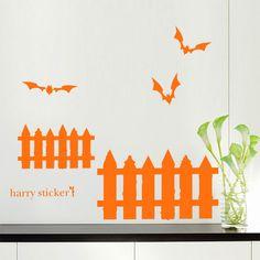 Halloween Wall Decal Mucha & Bats Harry Sticker hst-0352 ウォールステッカー