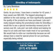 Genta: As you know, I have been a member for 42 years. I have saved over $80,000. The...