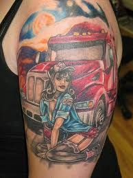 Some cool tattoos we've found.... either truckers are 'sporting' the tattoo, or there's a trucking related theme to the tattoo.