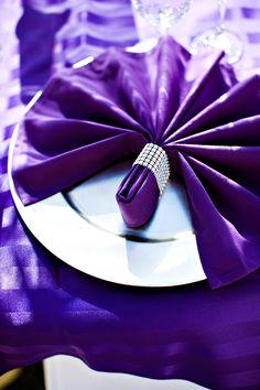 Royal purple. Love the bling napkin ring