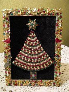 Vintage Framed Rhinestone Jewelry Sparkly Christmas Tree OOAK