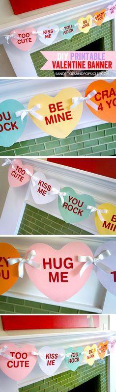 DIY Valentine's Day Banner. Free Printable Valentine decoration.
