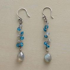 """Labradorite Dropdown Earrings  Strands of silk enmesh faceted rondelles of brilliant blue apatite and iridescent labradorite. The vertical cluster culminates with a labradorite briolette. Handmade Sundance exclusive with sterling silver French wires. 2""""L."""
