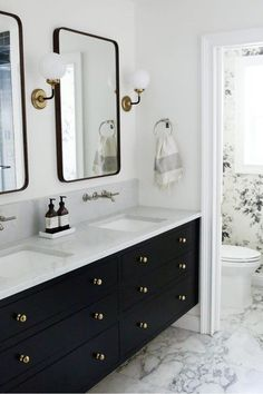 A few weeks ago, we revealed our master bathroom makeover (check out the post here if you haven't already! We just tallied up all the invoices and expenses for our bathroom renovation and we wanted Bathroom Vanity Designs, Contemporary Bathroom Designs, Bathroom Interior Design, Bathroom Faucets, Modern Contemporary, Black Vanity Bathroom, Bathroom Ideas, Black Cabinets Bathroom, Gold Bathroom