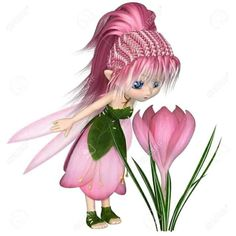 Cute toon fairy in leaf and pink petal dress looking at a spring crocus flower, digital illustration rendering) Cute Fairy, Baby Fairy, Holly Hobbie, Fairy Clipart, Fairies Photos, Quilled Paper Art, Fairy Coloring, Fairy Figurines, Pink Petals