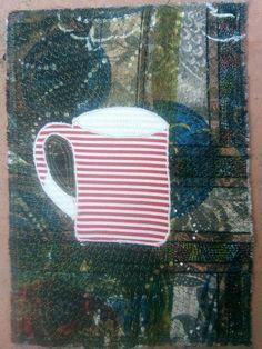 Containment #8 (2020). Quilt by Mariss Stevens. Machine applique with machine stitching. 30 x 21 cm. Machine Applique, Mason Jars, Stitching, Container, Quilts, Mugs, Tableware, Costura, Dinnerware