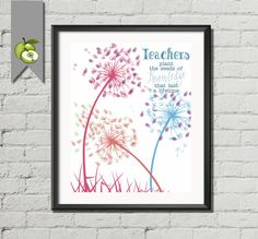 Dandelion Teacher Appreciation gift teachers plant the seeds of knowledge that last a lifetime! quotes Thank you fingerprint printable