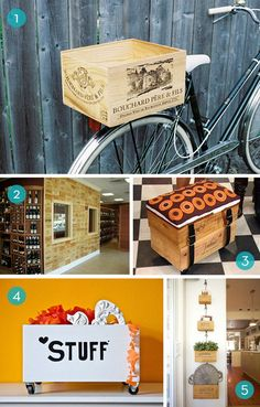 10 wine crate upcycling projects:  planters, storage crates, food serving dishes, wall decor/shelves.