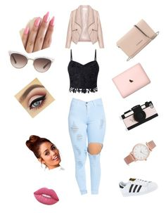 """Untitled #16"" by reagan-critchfield on Polyvore featuring Zizzi, Lipsy, adidas, Givenchy, Gucci, Kate Spade, Larsson & Jennings and Lime Crime"