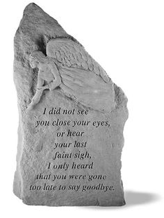 Charming Outdoor Religious Angel Memorial Garden Stone: Kayberry: Too Late To Say  Goodbye Totem