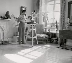 Sculptor Eugenie Gershoy working in her studio, 1940. Photographed for Art Week by Max Yavno