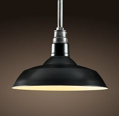 """Vintage Barn Pendant Black Or two of these over peninsula and one over sink. They have 10"""""""