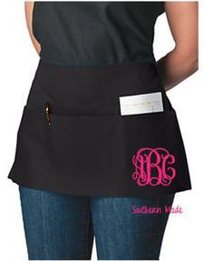 Waitress Apron Monogram Waitress Half Waist by SouthernMadeLLC