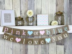 Pink or Blue We Love You Pink or Blue Banner Gender Reveal