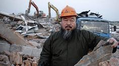 Ai Weiwei, artist on site of the demolition of his newly built studio. Demolition was ordered by the Chinese government.